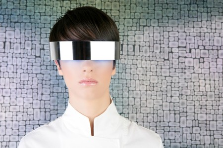 silver futuristic glasses modern woman portrait wallpaper background photo