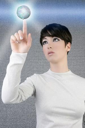 digital futuristic businesswoman magic light global planet finger touch photo