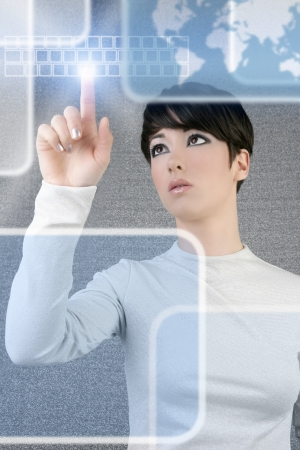futuristic girl: futuristic businesswoman finger touch pad keyboard digital light screen world map