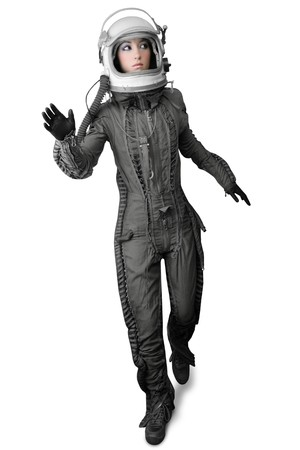 flight helmet: astronaut fashion woman full length space suit helmet isolated on white