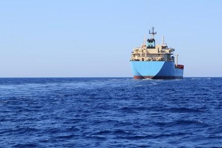 chemical transport boat offshore sailing tanker cargo blue ocean sea photo