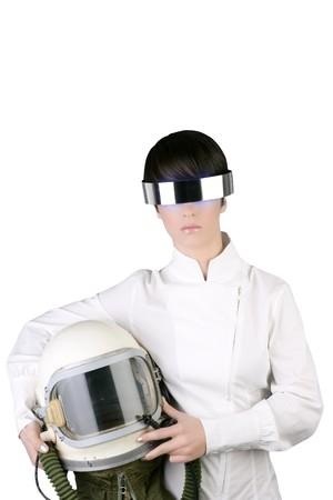 nave espacial futurista avión astronauta casco mujer espacio metáfora  Foto de archivo - 7712643