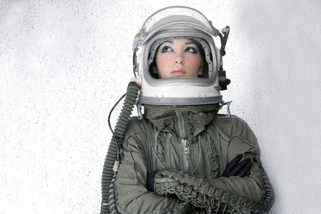 major force: aircraft  astronaut spaceship helmet woman fashion portrait over silver