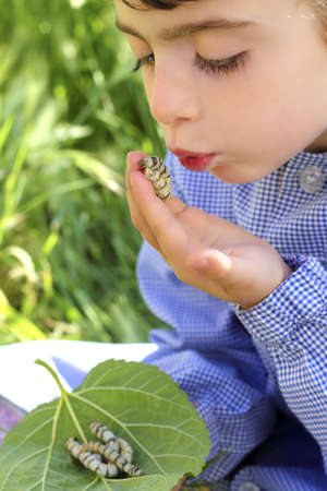 little girl palying with silkworm in hands with school uniform Stock Photo - 7712740