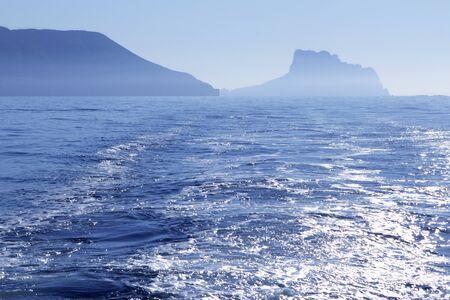 altea: Calpe Ifach Peñon view from Mediterranean Altea blue fog sea Stock Photo