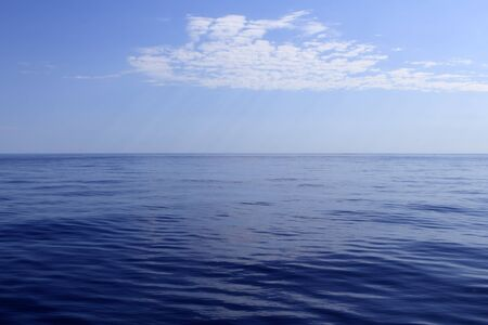 calmness: blue sea horizon ocean perfect in calm sunny day mediterranean