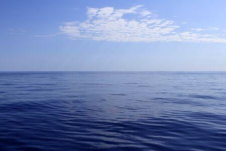 surface view: blue sea horizon ocean perfect in calm sunny day mediterranean