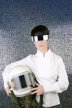 futuristic spaceship aircraft astronaut helmet woman space metaphor Stock Photo - 7780417