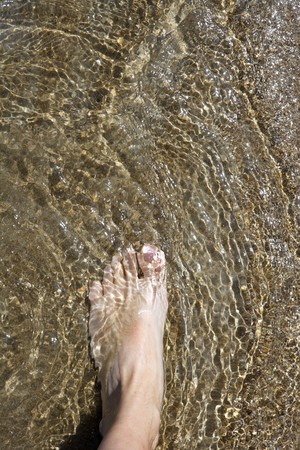 man feet: beach tourist feet walking on shore shallow water summer vacation metaphor   Stock Photo