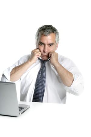 senior businessman stressed gesture open shirt neck tie white background Stock Photo - 7780165