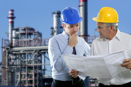 architect engineer expertise team plan talking hardhat petrol industry Stock Photo - 7780214
