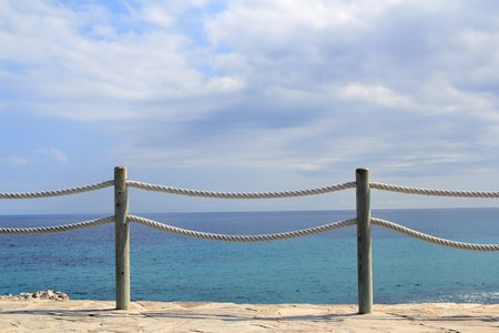 banister: banister railing on marine rope and wood Moraira Mediterranean sea Stock Photo