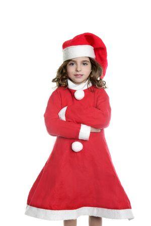 Brunette little girl Santa costume posing white background    photo