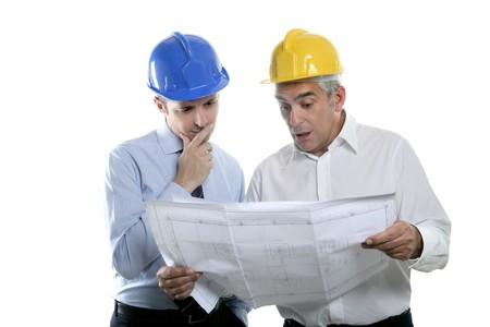 architect engineer two expertise team plan talking hardhat white background photo