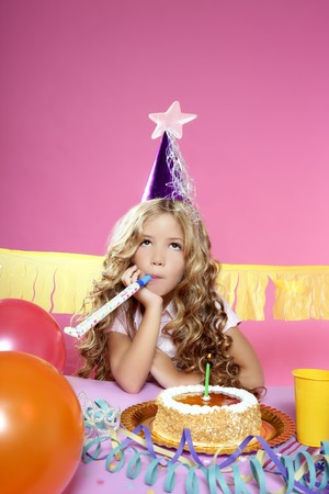 little blond girl  in a birthday party  Stock Photo - 7780711