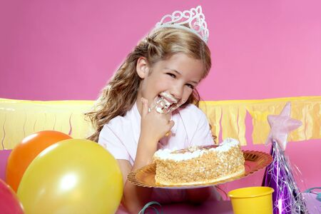 little blond girl  in a birthday party  photo