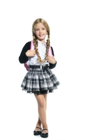 jolie petite fille: petite fille blonde �cole avec sac � main