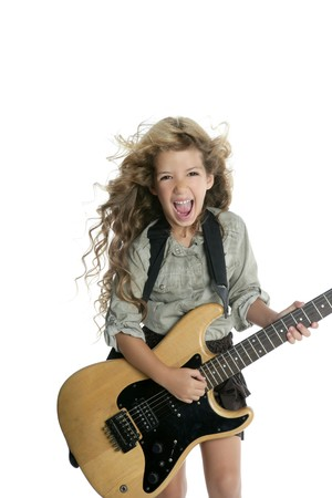little blond girl  playing guitar photo