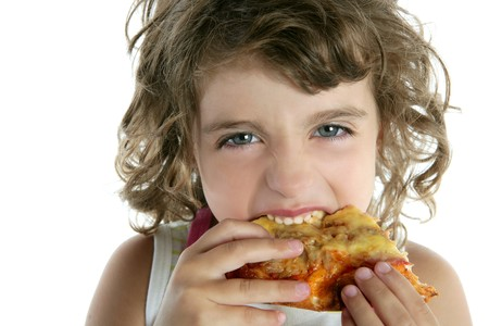 curly hair child: little  girl  eating pizza