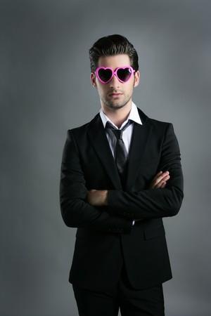 enticement: funny heart shape pink sunglasses modern fashion businessman