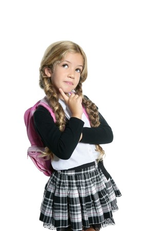 Girl School: little blond school girl with backpack bag portrait isolated on white background Stock Photo