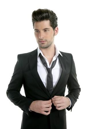 traje: Joven hermoso traje casual collar traje aislado en blanco  Foto de archivo