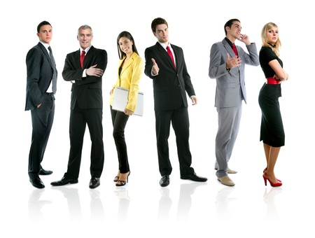 Team of business people group crowd full length stand isolated on white background photo