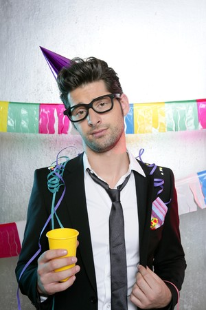 drunken: Holiday party young man funny glasses suit open handkerchief