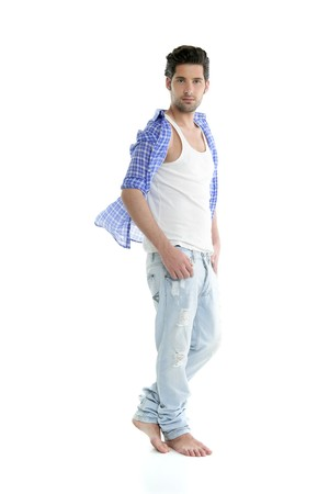 Full length casual denim fashion handsome man over white photo