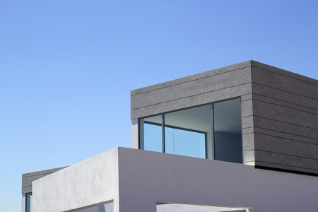 architectural exterior: architecture modern houses crop details blue sky Stock Photo