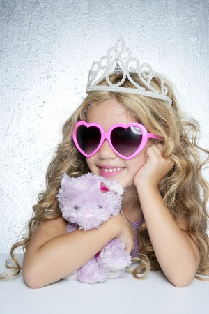 fairy princess: fashion little princess girl pink teddy bear crown and hearth shape glasses Stock Photo