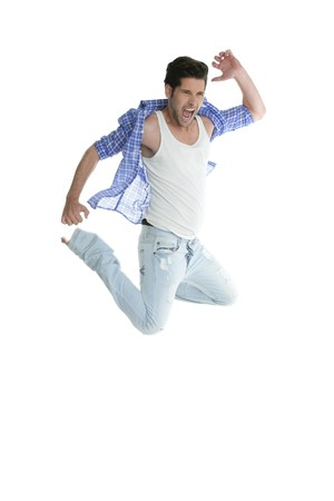 Active high fly jumping man denim fashion jeans isolated on white background photo