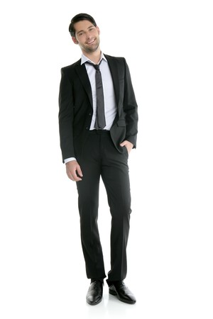 suit and tie: Fashion full length trendy elegant young black suit man
