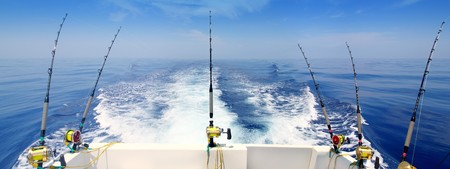 釣り: ボート釣りトローリング パノラマ ロッドとリールの青い海のウェイク アップ
