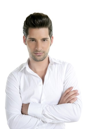 italian man: Handsome young man portrait looking camera on white background