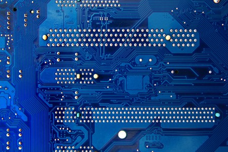 Blue electronics mainboad circuit technology background Stock Photo - 8051654
