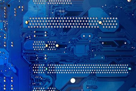 redes electricas: Fondo de tecnolog�a de circuito de electr�nica azul mainboad  Foto de archivo