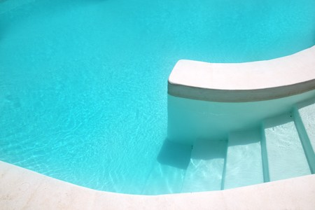 pool deck: white pool turquoise water clean composition in mediterranean house