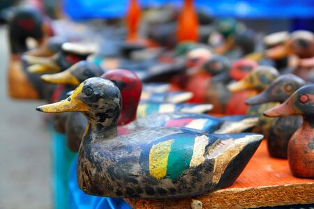 decoy: Duck decoy arrangement row colorful hand painted for hunters