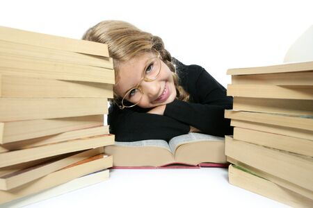 little student blond braided girl smiling with lots of stacked books on white background Stock Photo - 8139628