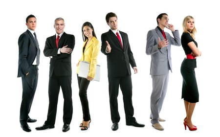 Business team people group crowd full length stand isolated on white background photo