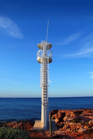 baywatch: Baywatch white lookout tower in Mediterranean sea Denia Alicante Spain Stock Photo