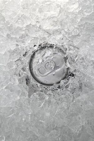 within: drink can iced submerged in frost ice closeup texture