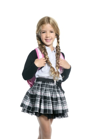 little blond school girl with backpack bag portrait isolated on white background Stock Photo - 8288853