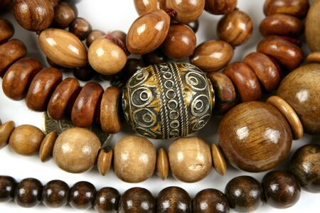 colorful beads: African wooden handcraft jewellery texture necklaces