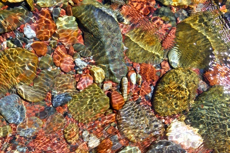 river water bottom stream red rocks transparency texture background photo