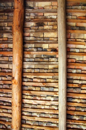 Clay square roof tiles ceiling indoor wooden beams view in Pyrenees photo