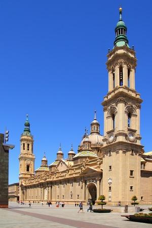 El Pilar Cathedral in Zaragoza city Spain outdoor blue sky photo