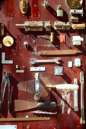 organized group: Hardware equipment vintage wood display DIY old store