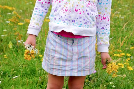 Girl holding flowers in hand green spring meadow  photo